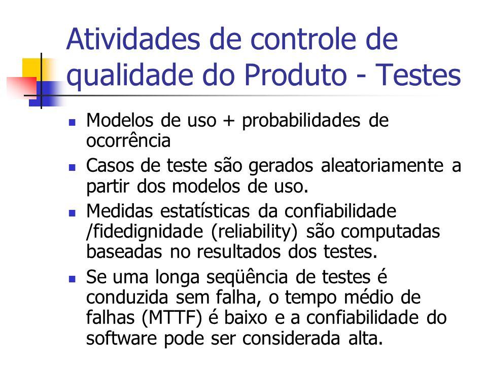 Atividades de controle de qualidade do Produto - Testes Modelos de uso + probabilidades de ocorrência Casos de teste são gerados aleatoriamente a partir dos modelos de uso.