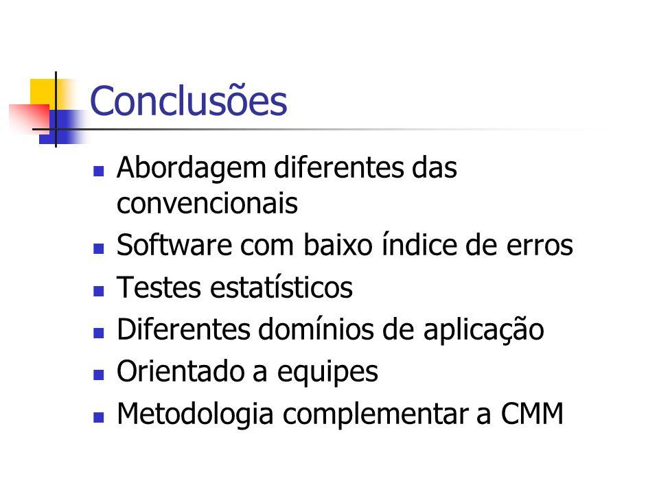 Conclusões Abordagem diferentes das convencionais Software com baixo índice de erros Testes estatísticos Diferentes domínios de aplicação Orientado a equipes Metodologia complementar a CMM