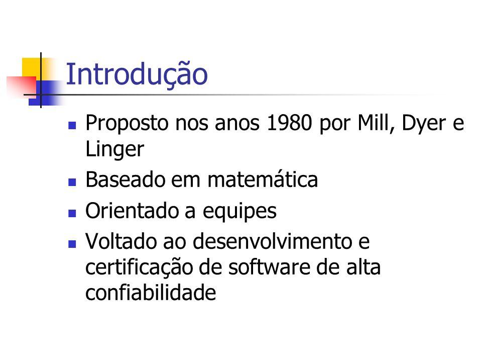Introdução Proposto nos anos 1980 por Mill, Dyer e Linger Baseado em matemática Orientado a equipes Voltado ao desenvolvimento e certificação de software de alta confiabilidade