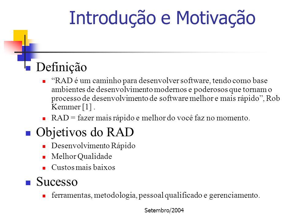 Setembro/2004 Introdução e Motivação Definição RAD é um caminho para desenvolver software, tendo como base ambientes de desenvolvimento modernos e pod