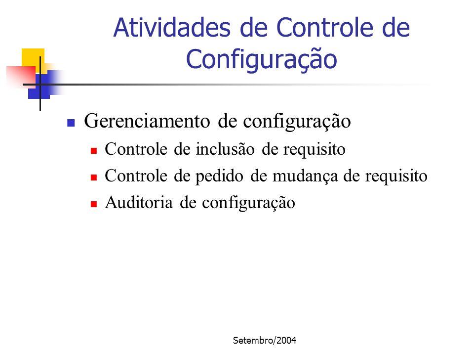 Setembro/2004 Atividades de Controle de Configuração Gerenciamento de configuração Controle de inclusão de requisito Controle de pedido de mudança de