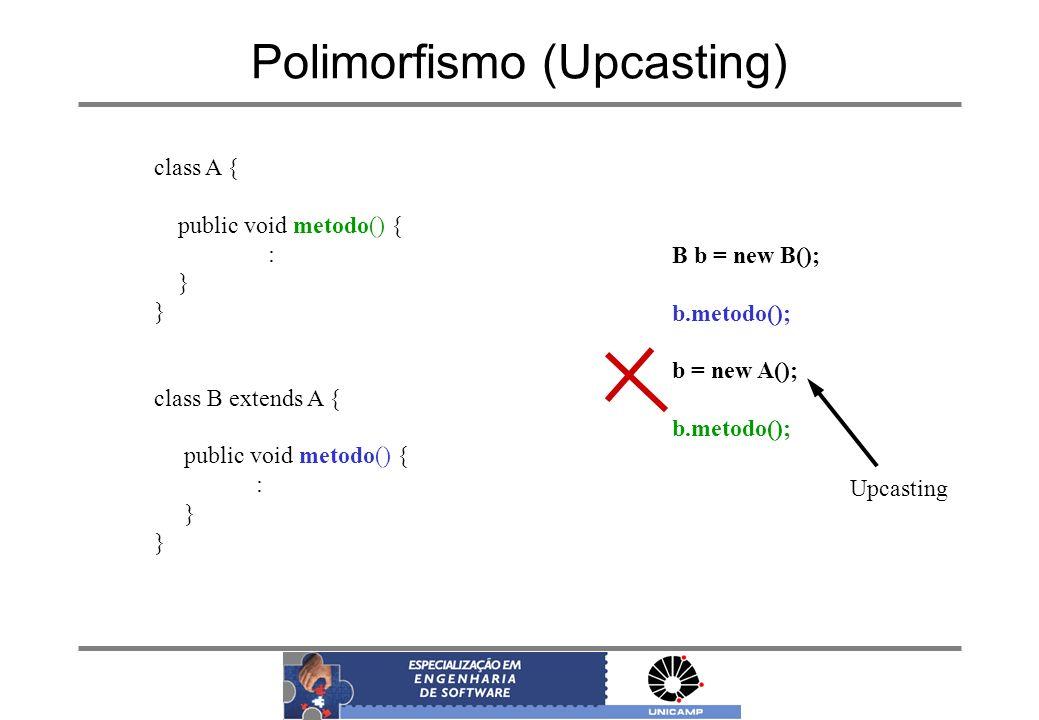 Polimorfismo (Upcasting) class A { public void metodo() { : } class B extends A { public void metodo() { : } B b = new B(); b.metodo(); b = new A(); b