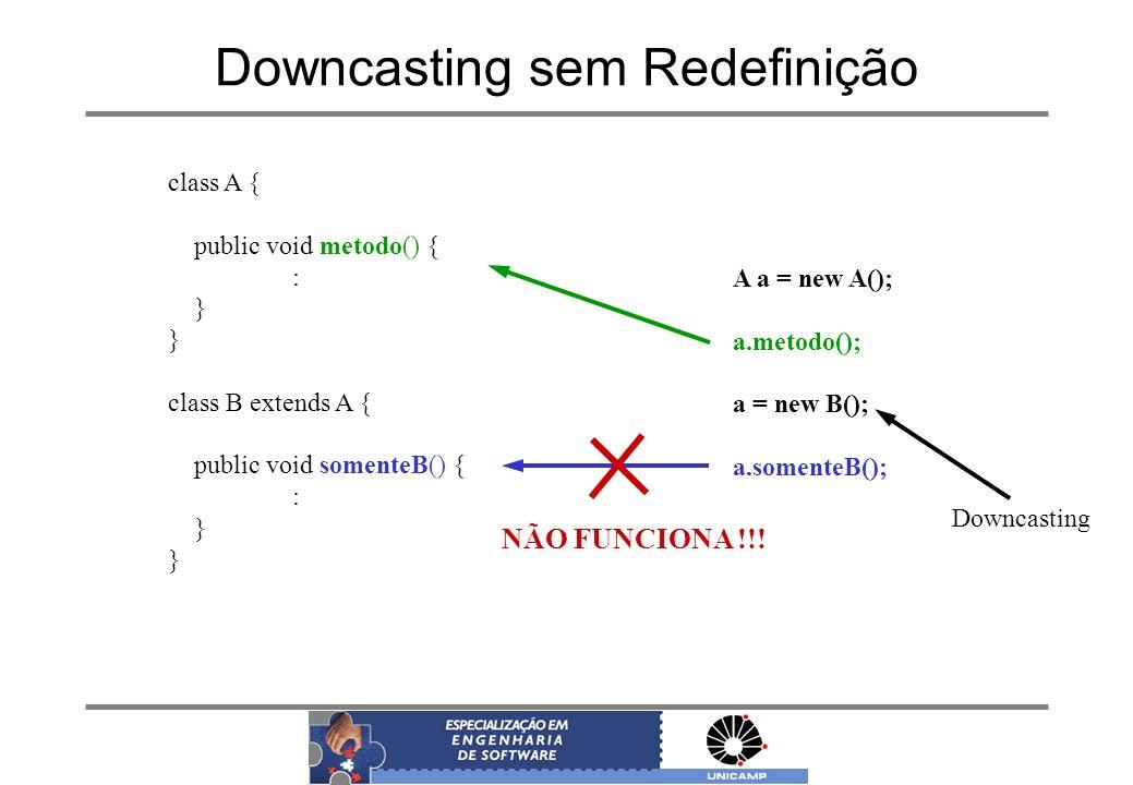 Downcasting sem Redefinição class A { public void metodo() { : } class B extends A { public void somenteB() { : } A a = new A(); a.metodo(); a = new B