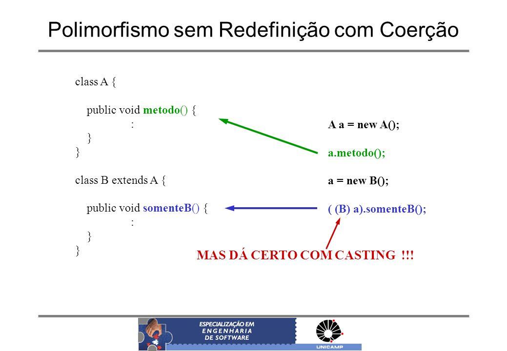 Polimorfismo sem Redefinição com Coerção class A { public void metodo() { : } class B extends A { public void somenteB() { : } A a = new A(); a.metodo