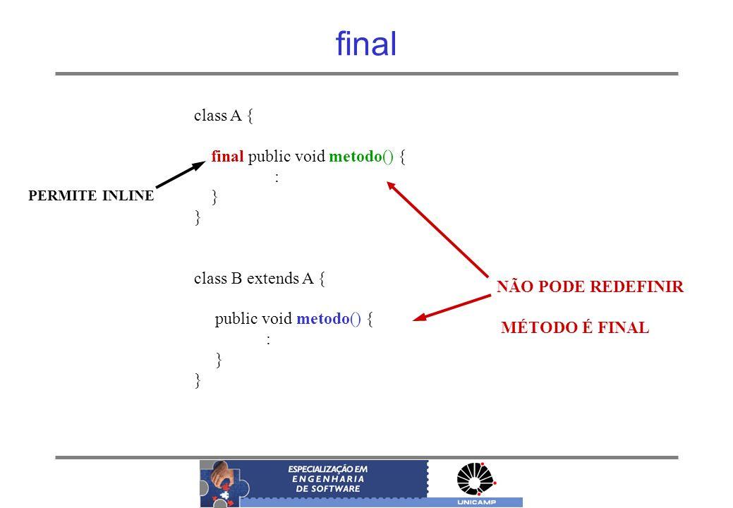 final class A { final public void metodo() { : } class B extends A { public void metodo() { : } NÃO PODE REDEFINIR MÉTODO É FINAL PERMITE INLINE