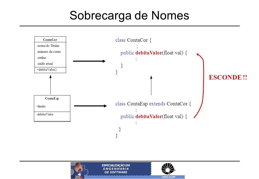 Sobrecarga de Nomes ContaCor -nome do Titular -número da conta -senha -saldo atual +debitaValor() ContaEsp +limite -debitaValor class ContaCor { : pub