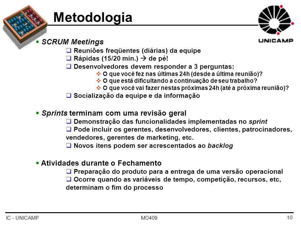 IC - UNICAMP MO40910 Metodologia SCRUM Meetings Reuniões freqüentes (diárias) da equipe Rápidas (15/20 min.) de pé! Desenvolvedores devem responder a