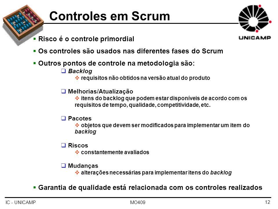 IC - UNICAMP MO40912 Controles em Scrum Risco é o controle primordial Os controles são usados nas diferentes fases do Scrum Outros pontos de controle