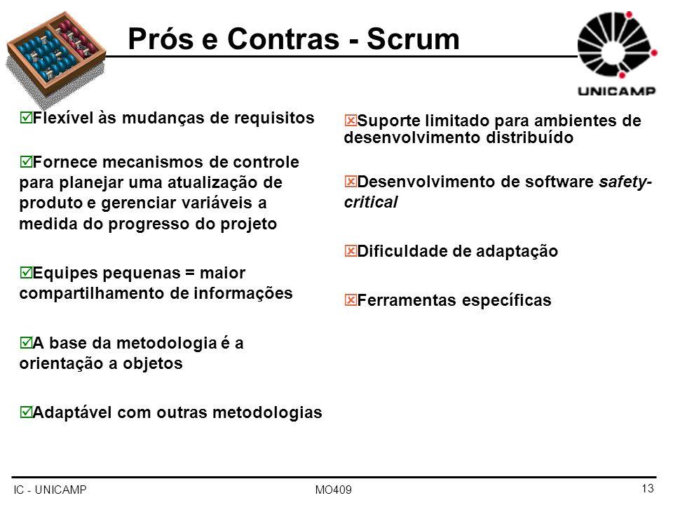 Flexível às mudanças de requisitos Fornece mecanismos de controle para planejar uma atualização de produto e gerenciar variáveis a medida do progresso