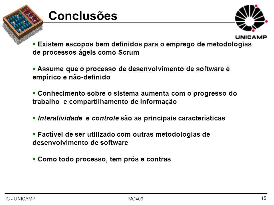 IC - UNICAMP MO409 Conclusões Existem escopos bem definidos para o emprego de metodologias de processos ágeis como Scrum Assume que o processo de dese