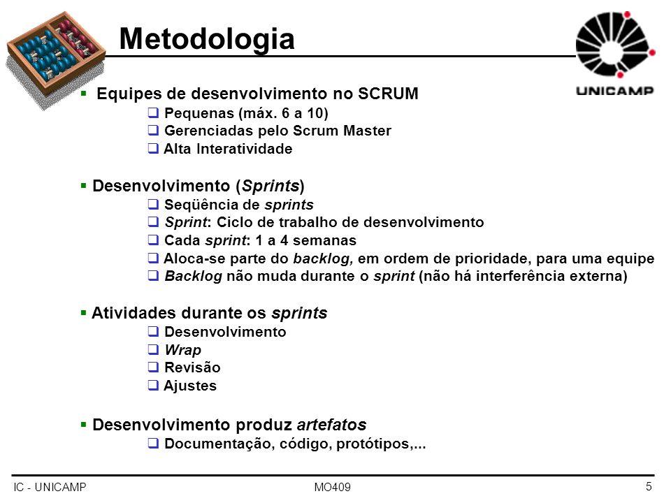 IC - UNICAMP MO4095 Metodologia Equipes de desenvolvimento no SCRUM Pequenas (máx. 6 a 10) Gerenciadas pelo Scrum Master Alta Interatividade Desenvolv