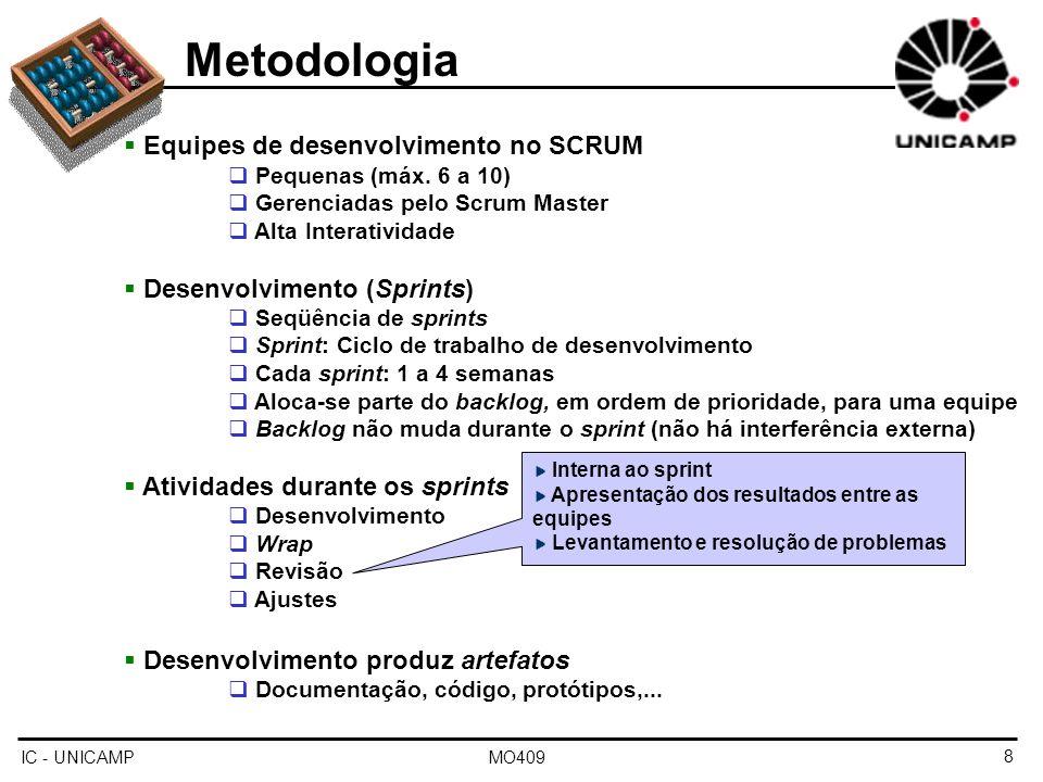 IC - UNICAMP MO4099 Metodologia Equipes de desenvolvimento no SCRUM Pequenas (máx.