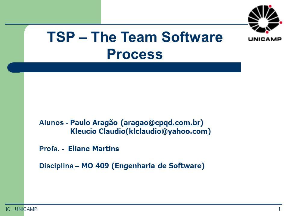 IC - UNICAMP 2 Roteiro 1.Introdução e Motivação 2.CMM e TSP 3.Modelo TSP 4.Estrutura do TSP 5.Processo TSP 6.Launch 7.Ciclo de Desenvolvimento 8.Conclusões 9.Referências