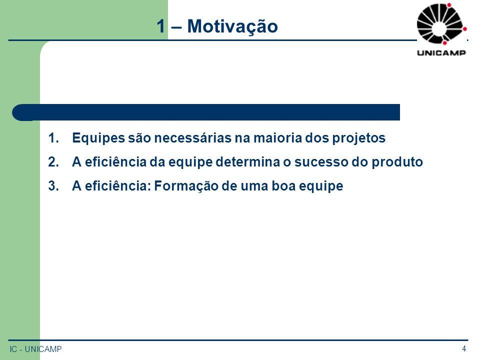 IC - UNICAMP 4 1 – Motivação 1.Equipes são necessárias na maioria dos projetos 2.A eficiência da equipe determina o sucesso do produto 3.A eficiência:
