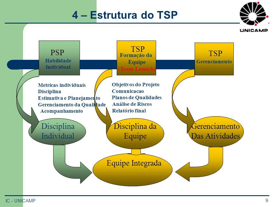PSP Habilidade Individual TSP Formação da Equipe (Team Launch) TSP Gerenciamento Das Atividades Disciplina Individual Disciplina da Equipe Metricas in