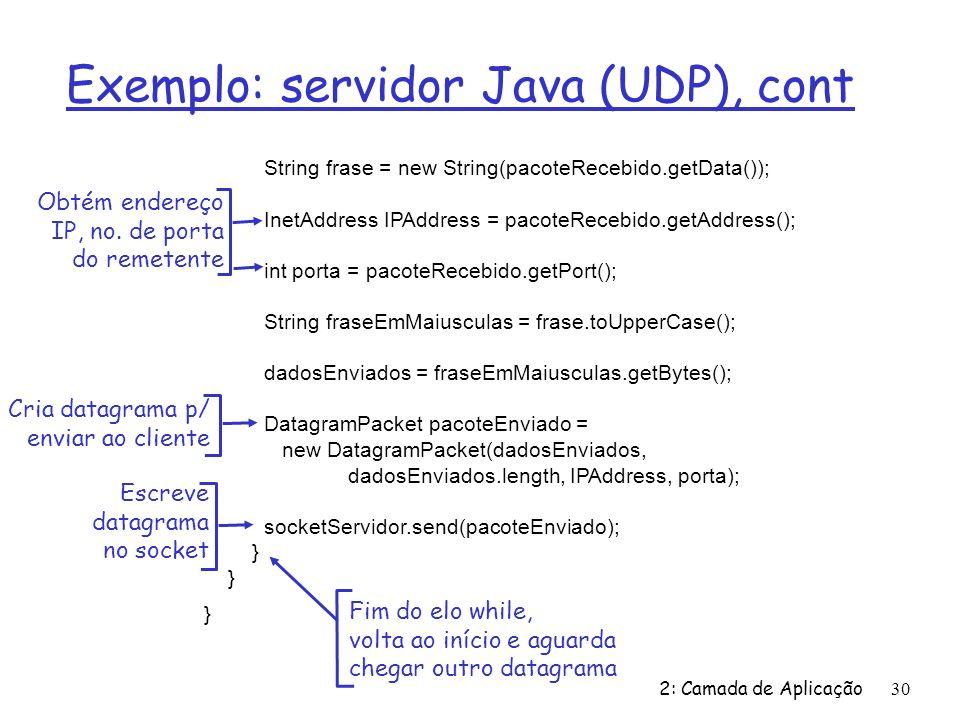 2: Camada de Aplicação30 Exemplo: servidor Java (UDP), cont String frase = new String(pacoteRecebido.getData()); InetAddress IPAddress = pacoteRecebid