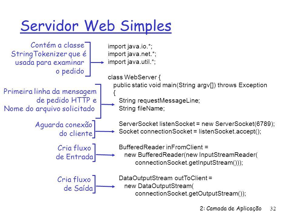 2: Camada de Aplicação32 Servidor Web Simples import java.io.*; import java.net.*; import java.util.*; class WebServer { public static void main(Strin