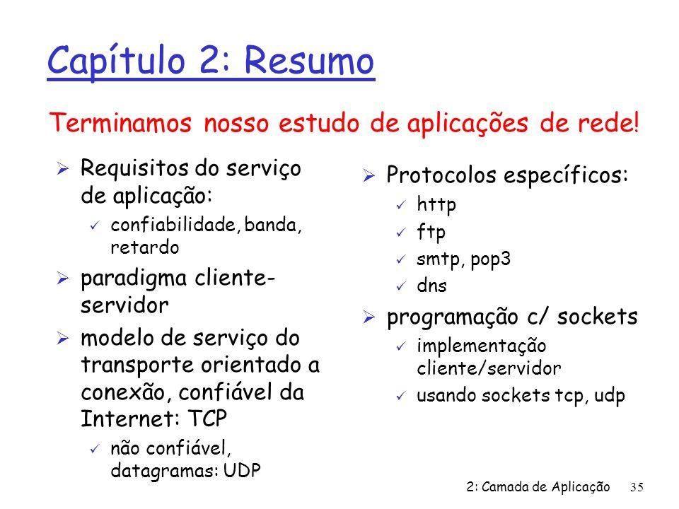 2: Camada de Aplicação35 Capítulo 2: Resumo Ø Requisitos do serviço de aplicação: ü confiabilidade, banda, retardo Ø paradigma cliente- servidor Ø mod