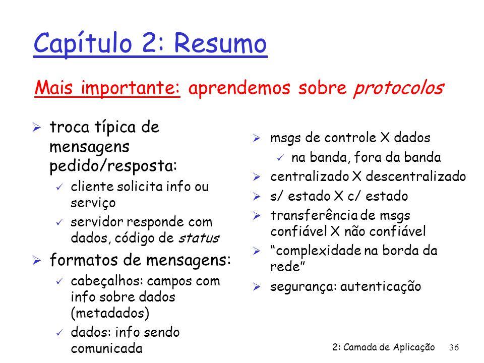 2: Camada de Aplicação36 Capítulo 2: Resumo Ø troca típica de mensagens pedido/resposta: ü cliente solicita info ou serviço ü servidor responde com da