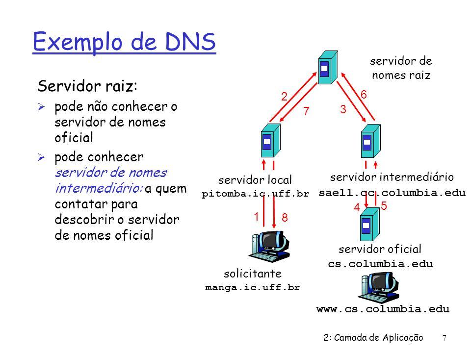 2: Camada de Aplicação7 Exemplo de DNS Servidor raiz: Ø pode não conhecer o servidor de nomes oficial Ø pode conhecer servidor de nomes intermediário: