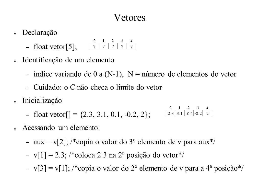 Vetores Declaração – float vetor[5]; Identificação de um elemento – índice variando de 0 a (N-1), N = número de elementos do vetor – Cuidado: o C não checa o limite do vetor Inicialização – float vetor[] = {2.3, 3.1, 0.1, -0.2, 2}; Acessando um elemento: – aux = v[2]; /*copia o valor do 3 o elemento de v para aux*/ – v[1] = 2.3; /*coloca 2.3 na 2 a posição do vetor*/ – v[3] = v[1]; /*copia o valor do 2 o elemento de v para a 4 a posição*/ 0 1234 .