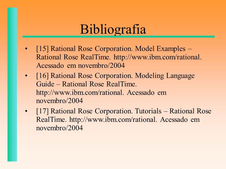 Bibliografia [15] Rational Rose Corporation. Model Examples – Rational Rose RealTime. http://www.ibm.com/rational. Acessado em novembro/2004 [16] Rati