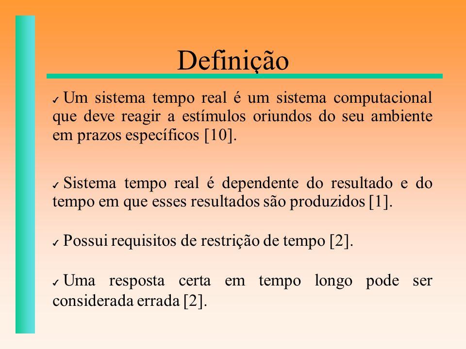 Definição Um sistema tempo real é um sistema computacional que deve reagir a estímulos oriundos do seu ambiente em prazos específicos [10]. Sistema te
