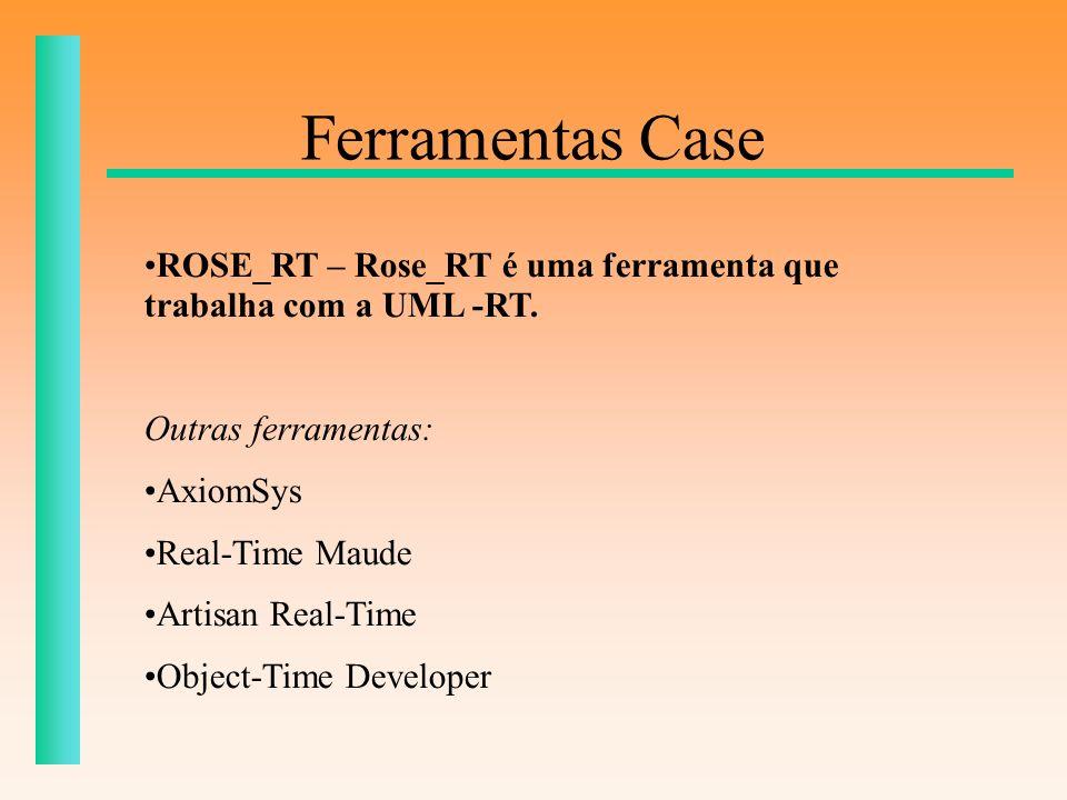 Ferramentas Case ROSE_RT – Rose_RT é uma ferramenta que trabalha com a UML -RT. Outras ferramentas: AxiomSys Real-Time Maude Artisan Real-Time Object-