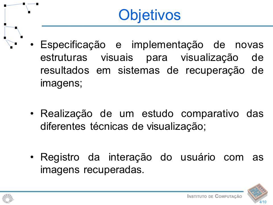 4/10 Objetivos Especificação e implementação de novas estruturas visuais para visualização de resultados em sistemas de recuperação de imagens; Realiz