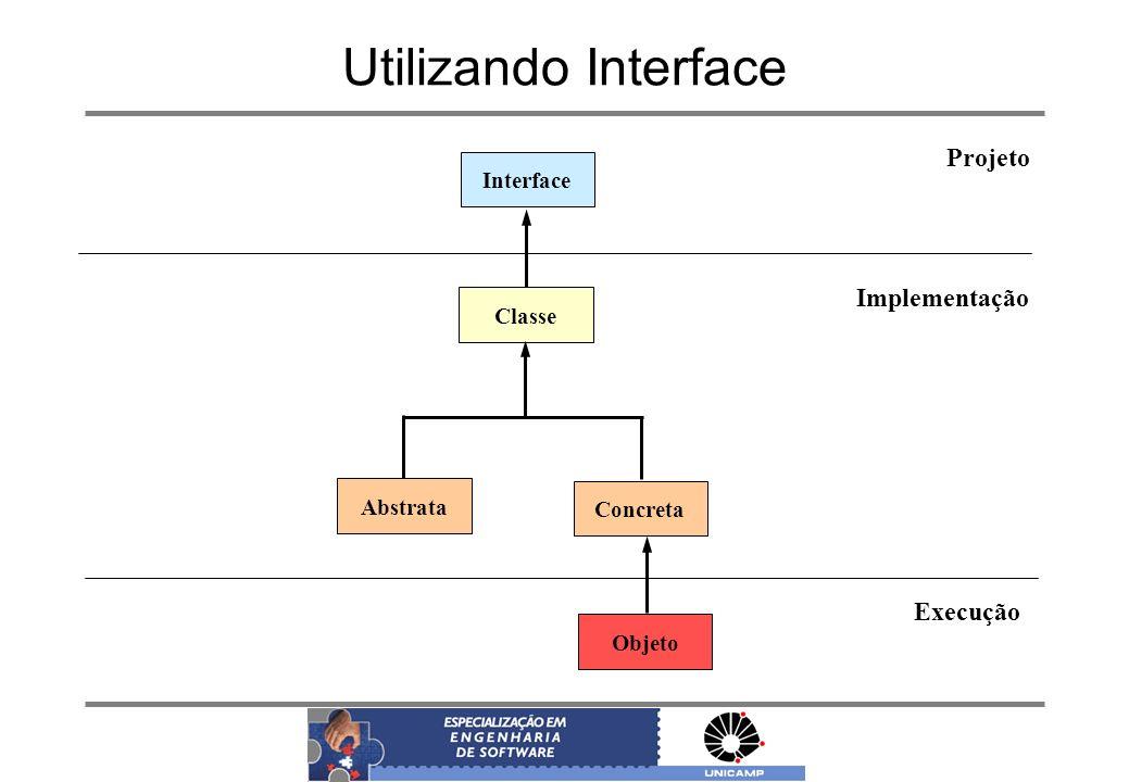 Utilizando Interface Interface Classe Abstrata Concreta Objeto Projeto Implementação Execução
