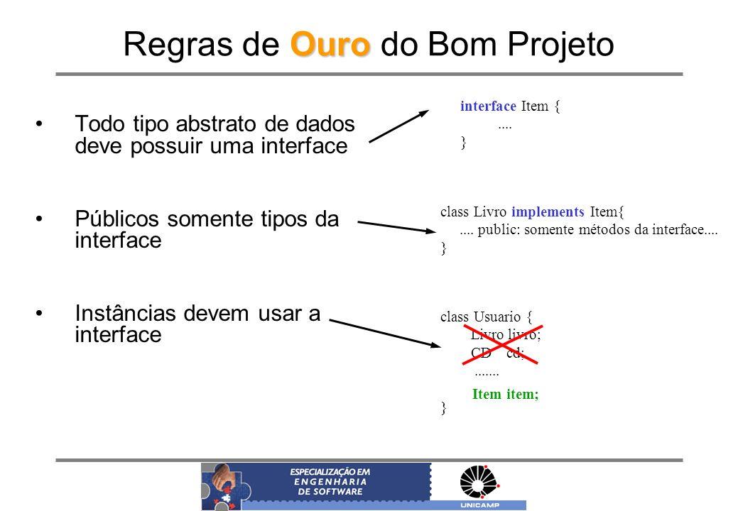 Ouro Regras de Ouro do Bom Projeto interface Item {.... } class Livro implements Item{.... public: somente métodos da interface.... } class Usuario {