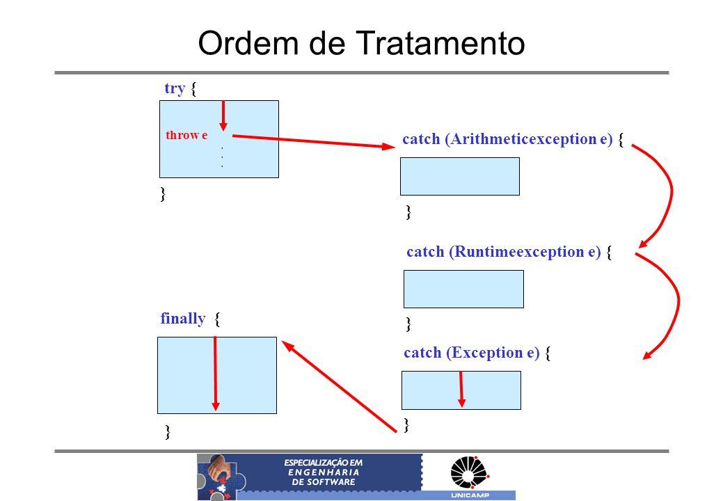 Ordem de Tratamento throw e. try { } catch (Arithmeticexception e) { } finally { } catch (Runtimeexception e) { } catch (Exception e) { }