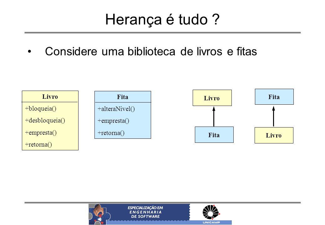 Herança é tudo ? Fita +alteraNivel() +empresta() +retorna() Considere uma biblioteca de livros e fitas Livro +bloqueia() +desbloqueia() +empresta() +r