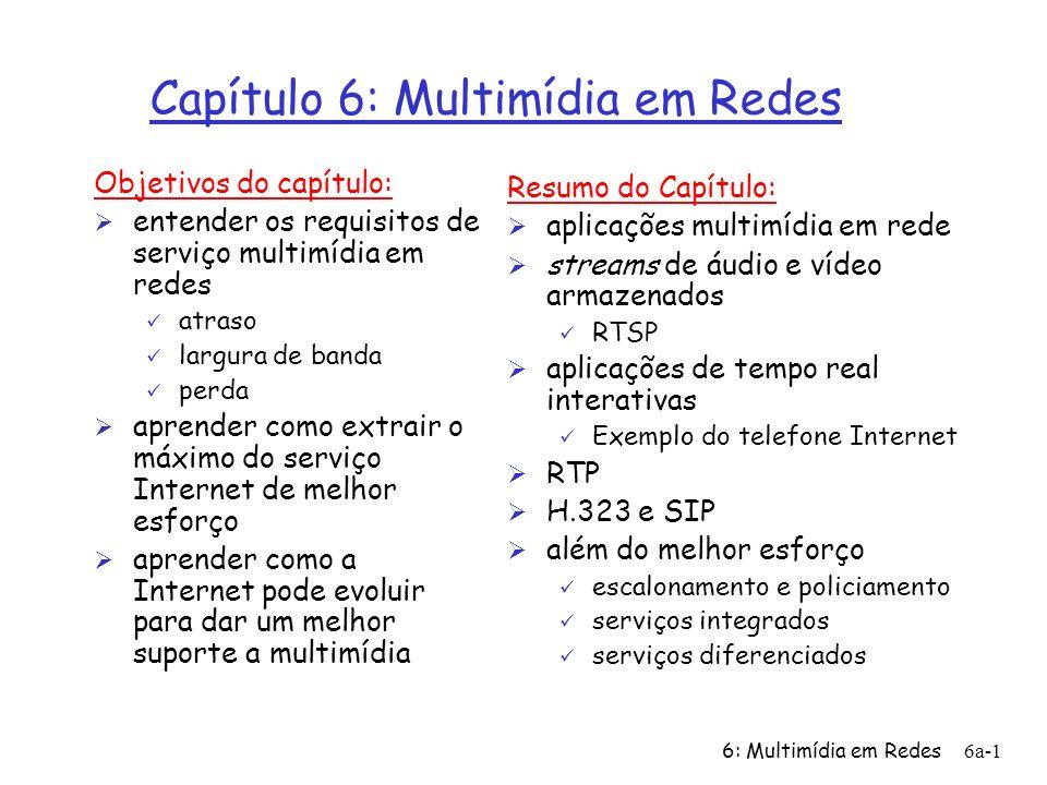 6: Multimídia em Redes6a-32 Protocolo de Tempo Real (RTP) Ø RTP = Real Time Protocol Ø RTP especifica uma estrutura de pacote para pacotes que transportam dados de áudio e de vídeo: RFC 1889.