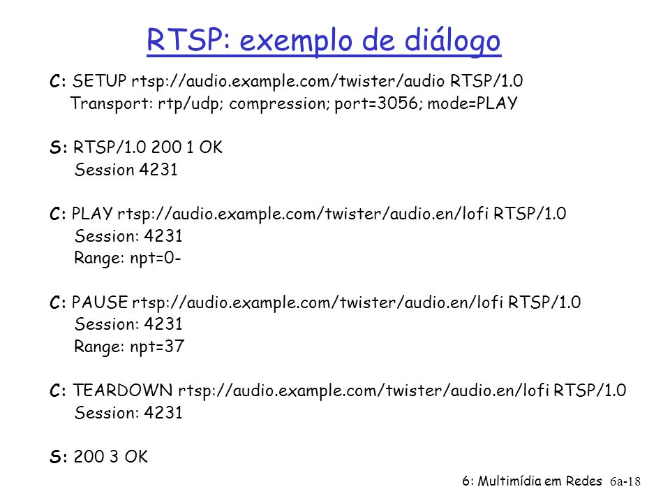6: Multimídia em Redes6a-18 RTSP: exemplo de diálogo C: SETUP rtsp://audio.example.com/twister/audio RTSP/1.0 Transport: rtp/udp; compression; port=30
