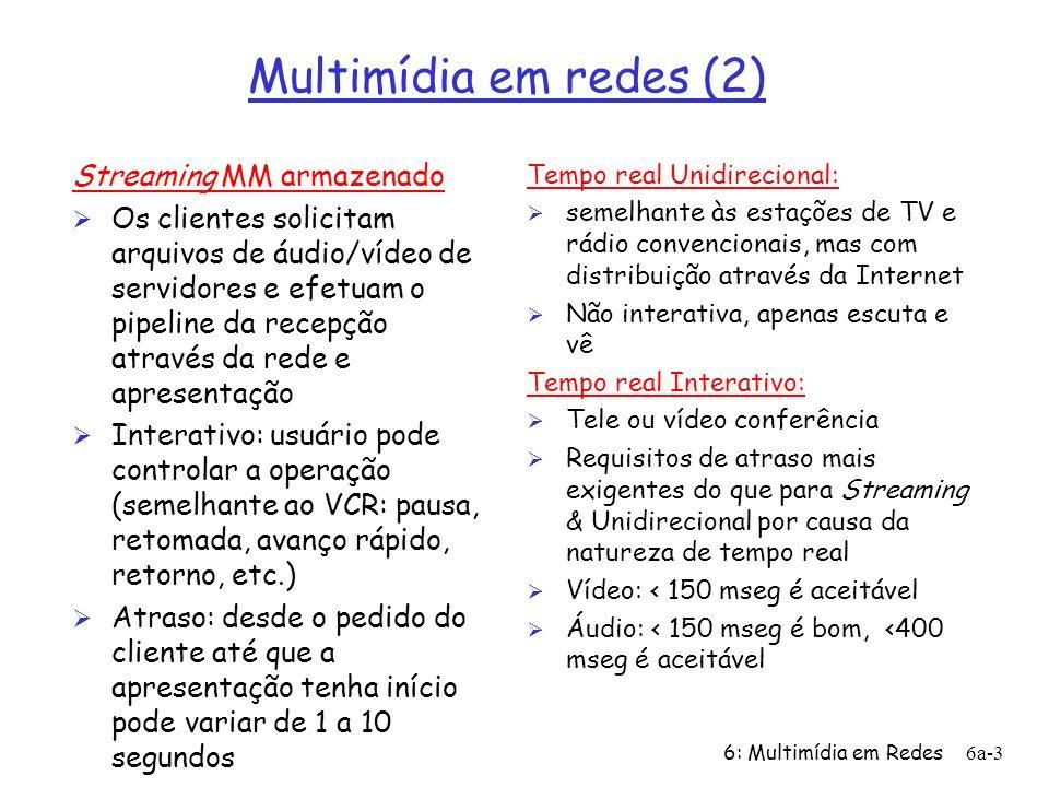 6: Multimídia em Redes6a-4 Multimídia em redes (3): desafios Ø A pilha TCP/UDP/IP provê melhor esforço, sem garantias de atraso ou variação do atraso ü Apl.