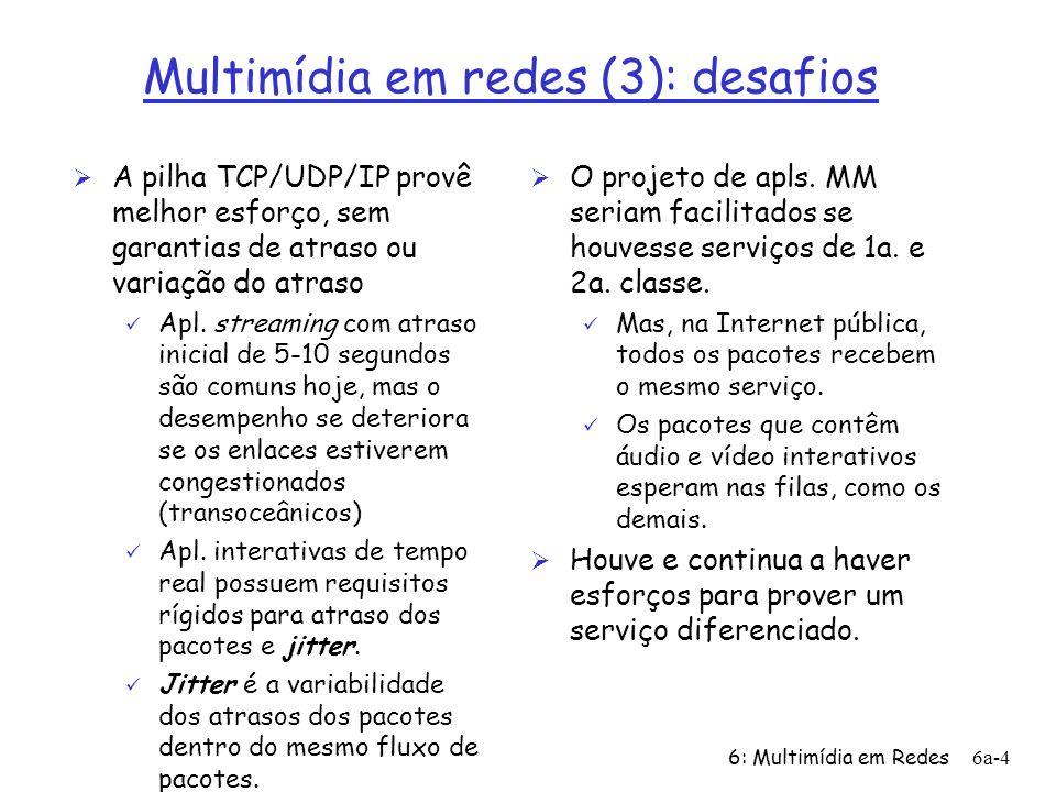 6: Multimídia em Redes6a-5 Multimídia em redes (4): extraindo o máximo do melhor esforço De modo a minimizar o impacto do melhor esforço na Internet, nós podemos: Ø Usar UDP para evitar o TCP e sua fase de início lento...