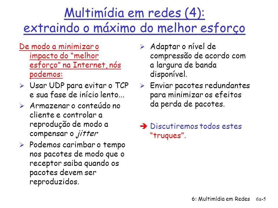 6: Multimídia em Redes6a-16 Exemplo de Meta arquivo Twister <track type=audio e= PCMU/8000/1 src = rtsp://audio.example.com/twister/audio.en/lofi > <track type=audio e= DVI4/16000/2 pt= 90 DVI4/8000/1 src= rtsp://audio.example.com/twister/audio.en/hifi > <track type= video/jpeg src= rtsp://video.example.com/twister/video >