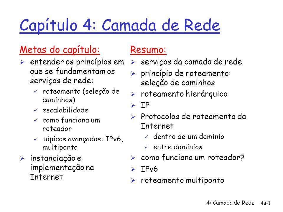 4: Camada de Rede4a-1 Capítulo 4: Camada de Rede Metas do capítulo: Ø entender os princípios em que se fundamentam os serviços de rede: ü roteamento (