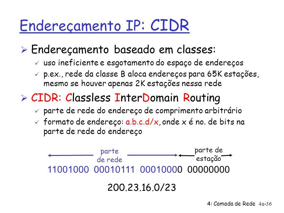 4: Camada de Rede4a-36 parte de estação Endereçamento IP : CIDR Ø Endereçamento baseado em classes: ü uso ineficiente e esgotamento do espaço de endereços ü p.ex., rede da classe B aloca endereços para 65K estações, mesmo se houver apenas 2K estações nessa rede Ø CIDR: Classless InterDomain Routing ü parte de rede do endereço de comprimento arbitrário ü formato de endereço: a.b.c.d/x, onde x é no.