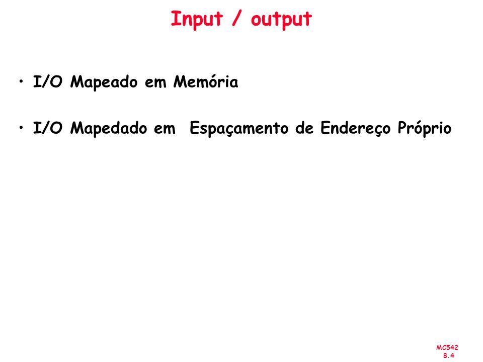 MC542 8.4 Input / output I/O Mapeado em Memória I/O Mapedado em Espaçamento de Endereço Próprio
