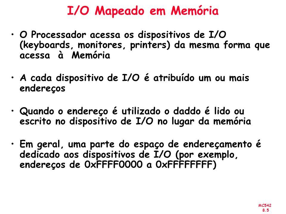 MC542 8.5 I/O Mapeado em Memória O Processador acessa os dispositivos de I/O (keyboards, monitores, printers) da mesma forma que acessa à Memória A ca