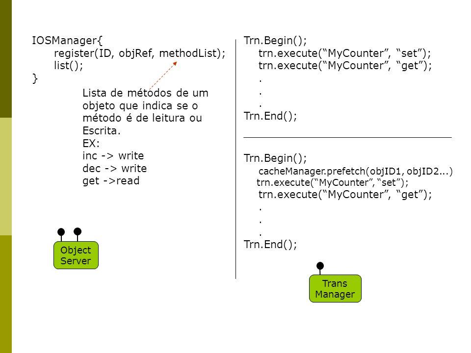 IOSManager{ register(ID, objRef, methodList); list(); } Lista de métodos de um objeto que indica se o método é de leitura ou Escrita.