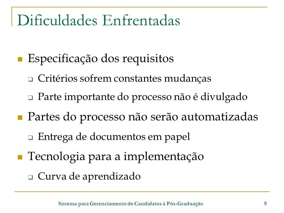 Sistema para Gerenciamento de Candidatos à Pós-Graduação 8 Dificuldades Enfrentadas Especificação dos requisitos Critérios sofrem constantes mudanças