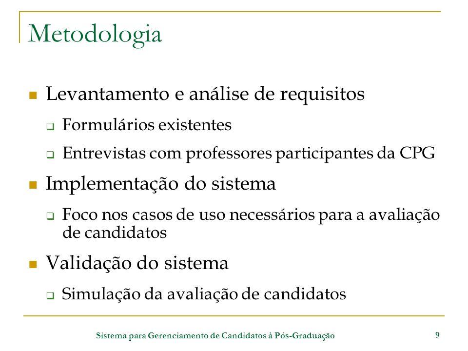 Sistema para Gerenciamento de Candidatos à Pós-Graduação 9 Metodologia Levantamento e análise de requisitos Formulários existentes Entrevistas com pro