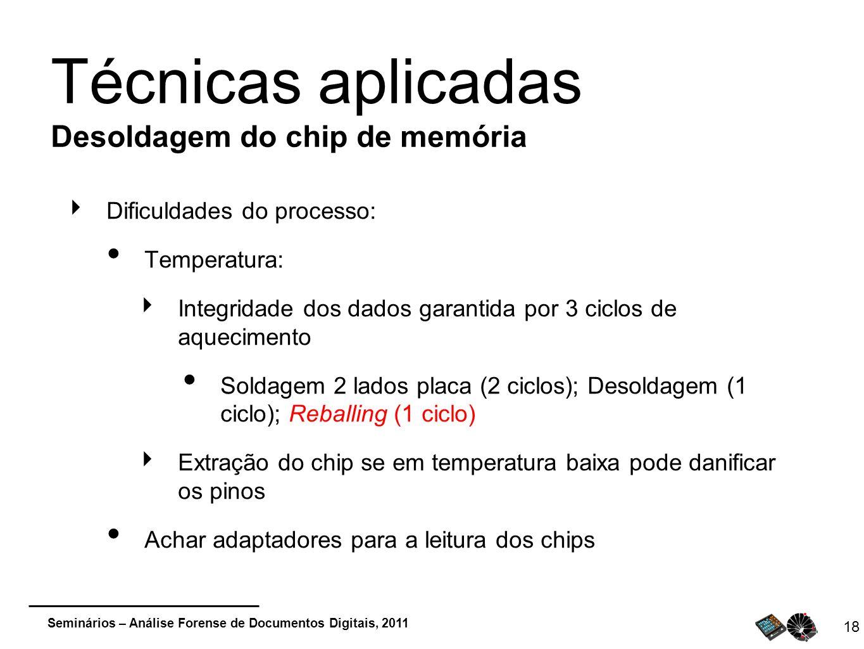 Seminários – Análise Forense de Documentos Digitais, 2011 Dificuldades do processo: Temperatura: Integridade dos dados garantida por 3 ciclos de aquec