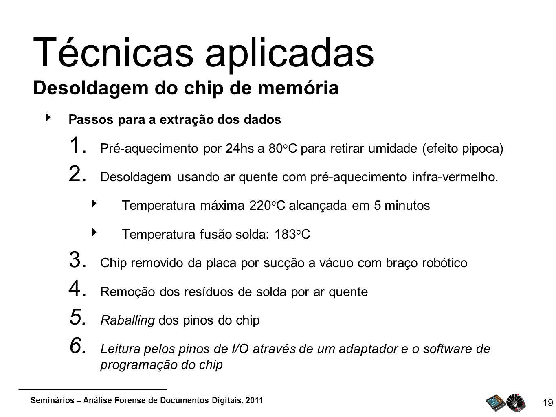 Seminários – Análise Forense de Documentos Digitais, 2011 Passos para a extração dos dados 1. Pré-aquecimento por 24hs a 80 o C para retirar umidade (