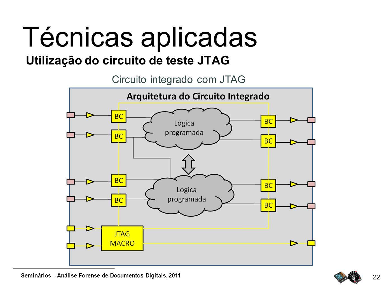 Seminários – Análise Forense de Documentos Digitais, 2011 22 Técnicas aplicadas Utilização do circuito de teste JTAG Circuito integrado com JTAG