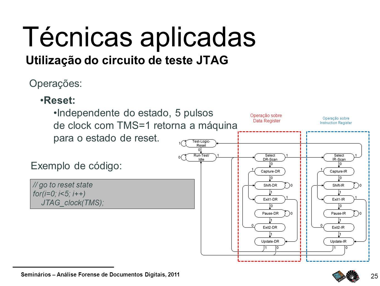Seminários – Análise Forense de Documentos Digitais, 2011 25 Técnicas aplicadas Utilização do circuito de teste JTAG Operações: Operação sobre Data Re