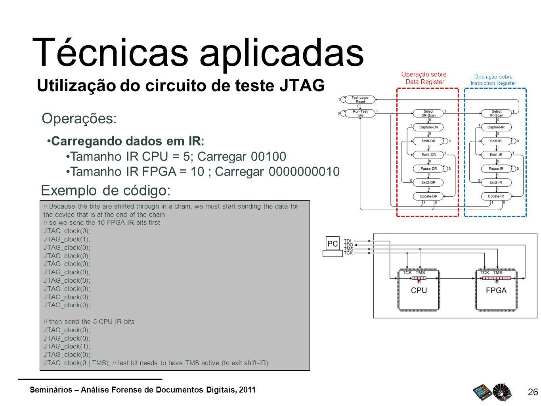Seminários – Análise Forense de Documentos Digitais, 2011 26 Técnicas aplicadas Utilização do circuito de teste JTAG Operações: Operação sobre Data Re